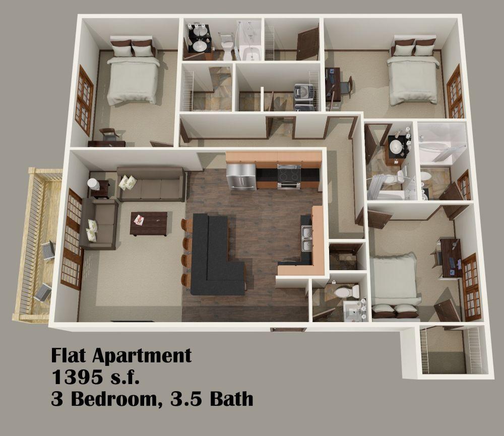 3 Bedroom Flat Plan And Design House Decor Interior