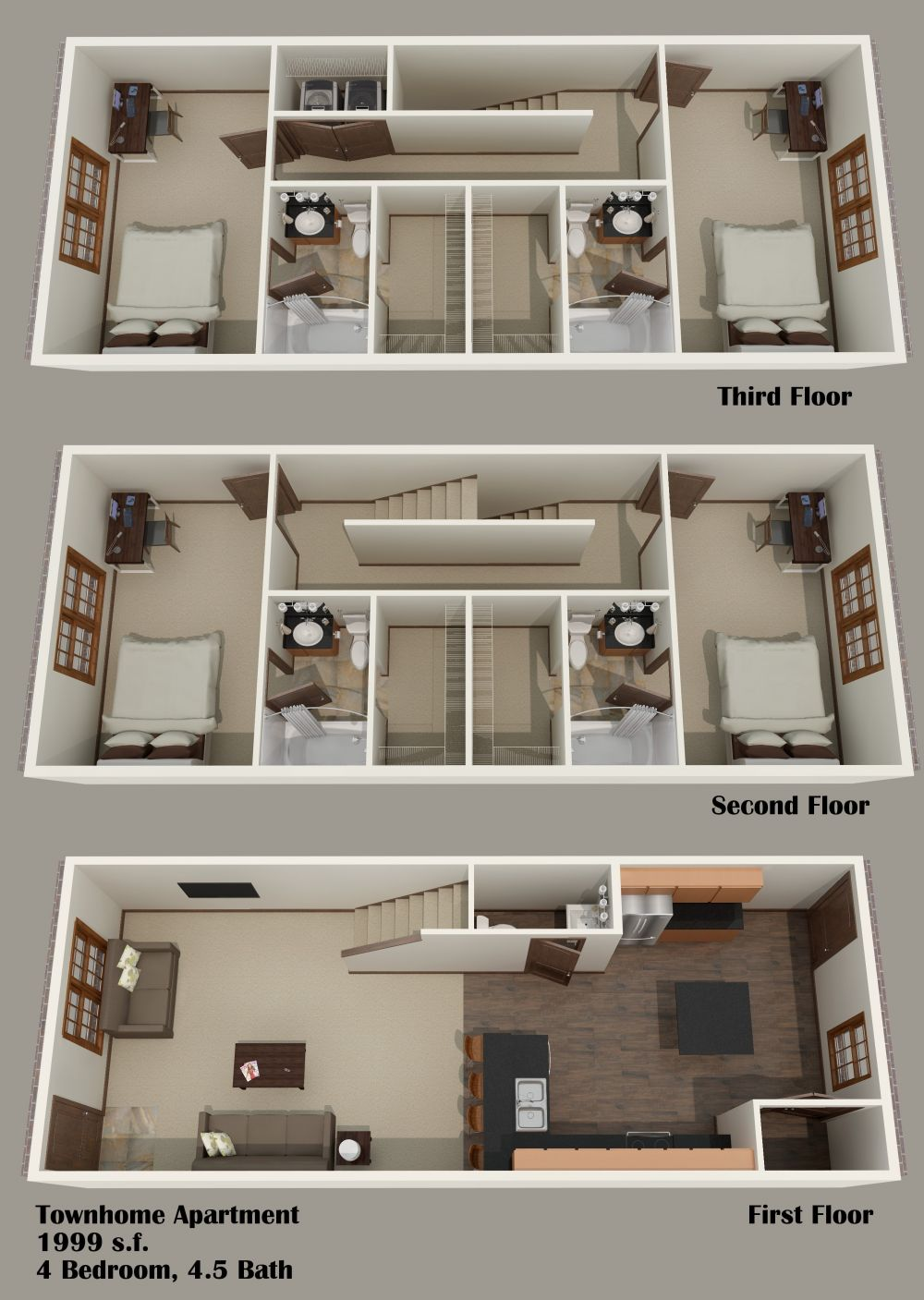 4 Bedroom Townhouse (3 Story)